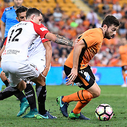 BRISBANE, AUSTRALIA - DECEMBER 22: Tommy Oar of the Roar and Scott Neville of the Wanderers compete for the ball during the round 4 Foxtel National Youth League match between the Brisbane Roar and Melbourne City at AJ Kelly Field on December 22, 2016 in Brisbane, Australia. (Photo by Patrick Kearney/Brisbane Roar)