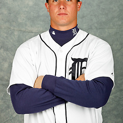 February 28, 2012; Lakeland, FL, USA; Detroit Tigers catcher James McCann (81) poses for photo day in the rec room at the Detroit Tigers Headquarters.  Mandatory Credit: Derick E. Hingle-US PRESSWIRE