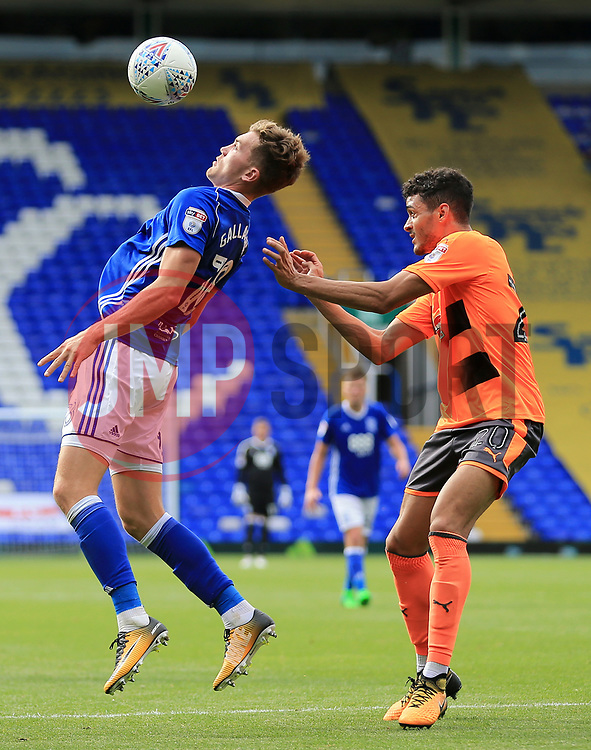 Sam Gallagher of Birmingham City controls the ball under pressure from Tiago Ilori of Reading - Mandatory by-line: Paul Roberts/JMP - 26/08/2017 - FOOTBALL - St Andrew's Stadium - Birmingham, England - Birmingham City v Reading - Sky Bet Championship