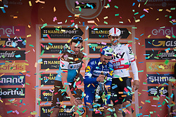 March 23, 2019 - Sanremo, Sanremo, Italy - Julian Alaphilippe (C) of the Deceuninck team, winner with Oliver Naesen of AG2R La Mondiale (L) second and Michal Kwiatkowski of Team Sky, third (R), seen celebrating on the podium of the 110th edition of Milan - Sanremo, cycling race. (Credit Image: © Diego Puletto/SOPA Images via ZUMA Wire)