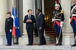 August 31, 2017 - Paris, France - French President Emmanuel Macron welcomes Ivory Coast president Alassane Ouattara prior to a meeting at the Elysee Presidential Palace on August 31, 2017 in Paris, France. Ouattara is in Paris for one day work visit. (Credit Image: © Julien Mattia/NurPhoto via ZUMA Press)