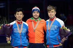 25-01-2015 NED: ISU European Championships Shorttrack, Dordrecht<br /> Sjinkie Knegt pakt het goud en is Europees kampioen, Victor An zilver en Semen Elistratov en brons