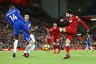 Mohamed Salah of Liverpool (l) sees a shot at goal blocked by Tiemoue Bakayoko of Chelsea. Premier League match, Liverpool v Chelsea at the Anfield stadium in Liverpool, Merseyside on Saturday 25th November 2017.<br /> pic by Chris Stading, Andrew Orchard sports photography.