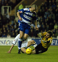 Fotball<br /> England 2004/2005<br /> Foto: BPI/Digitalsport<br /> NORWAY ONLY<br /> <br /> Reading v Derby County<br /> Coca Cola Championship.<br /> <br /> Nicky Forster of Reading is denied by Derby keeper Lee Camp.