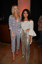 Laura Whitmore and Vanessa White at the Warner Music Group and British GQ Summer Party in partnership with Quintessentially held at Nobu Shoreditch, Willow StreetLondon England. 5 July 2017.<br /> Photo by Dominic O'Neill/SilverHub 0203 174 1069 sales@silverhubmedia.com
