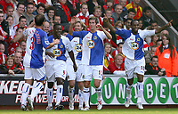 Fotball<br /> England <br /> Foto: Propaganda/Digitalsport<br /> NORWAY ONLY<br /> <br /> LIVERPOOL, ENGLAND - SATURDAY, OCTOBER 14th , 2006: Blackburn Rovers' Benni McCarthy celebrates scoring the opening goal against Liverpool with his team-mates Morten Gamst Pedersen during the Premiership match at Anfield.