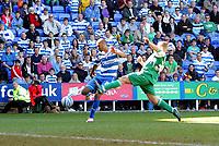 © Andrew Fosker / Richard Lane Photography 2010 -  Reading's Jimmy Kebe (left) lashes their 4th goal as Scott Griffiths (R)  tries to block Reading v Peterborough - Coca-Cola Championship - 17/04/2010 - Madejski Stadium - Reading - UK.