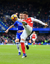 4 February 2017 - Premier League - Chelsea v Arsenal - Mesut Ozil of Arsenal in action with Nemanja Matic of Chelsea - Photo: Marc Atkins / Offside.