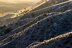 Backlit ridges, Ladder Ranch, west of Truth or Consequences, New Mexico, USA.