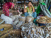 08 NOVEMBER 2014 - SITTWE, RAKHINE, MYANMAR:  A woman sells dried fish in the market in Sittwe. Sittwe is a small town in the Myanmar state of Rakhine, on the Bay of Bengal.  PHOTO BY JACK KURTZ