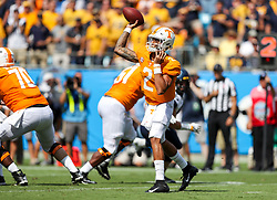 Sep 1, 2018; Charlotte, NC, USA; Tennessee Volunteers quarterback Jarrett Guarantano (2) throws a pass during the first quarter against the West Virginia Mountaineers at Bank of America Stadium. Mandatory Credit: Ben Queen-USA TODAY Sports