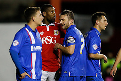 Jay Emmanuel-Thomas of Bristol City gets amongst the Gillingham defence - Photo mandatory by-line: Rogan Thomson/JMP - 07966 386802 - 29/01/2015 - SPORT - FOOTBALL - Bristol, England - Ashton Gate Stadium - Bristol City v Gillingham - Johnstone's Paint Trophy Southern Area Final Second Leg.