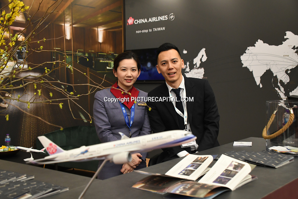 China Airlines stalls exhibition at Business Travel Show 2020 and travel technology europe on 26th February 2020, Olympia London, UK.