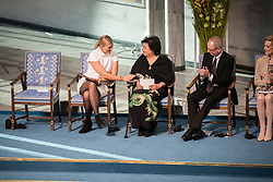 """10 December 2017, Oslo, Norway: Oslo City Hall hosts the Nobel Peace Prize award ceremony on 9-10 December 2017. The prize in 2017 goes to the International Campaign to Abolish Nuclear Weapons (ICAN), for """"its work to draw attention to the catastrophic humanitarian consequences of any use of nuclear weapons and for its ground-breaking efforts to achieve a treaty-based prohibition of such weapons"""". Here, ICAN representatives Beatrice Fihn (left) and Setsuko Thurlow (right)."""
