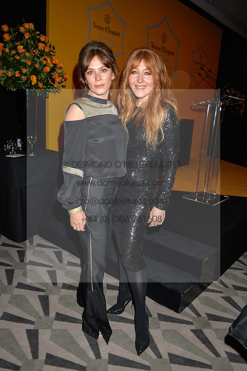 Left to right, ANNA FRIEL and CHARLOTTE TILBURY at the Veuve Clicquot Business Woman Award 2016 held at Claridge's Hotel, Brook Street, London on 9th May 2016.