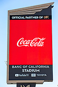 Banc of California Stadium Marquee displaying Coca-Cola along the Interstate 110 freeway in the wake of the coronavirus COVID-19 pandemic, Wednesday, May 20, 2020. in Los Angeles, Calif. (Jevone Moore/Image of Sport)