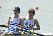Beijing, CHINA, GBR JM2-, Bow, Matthew Tarrant and Matthew ANKER during the  2007. FISA Junior World Rowing Championships Shunyi Water Sports Complex. Wed. 08.08.2007  [Photo, Peter Spurrier/Intersport-images]..... , Rowing Course, Shun Yi Water Complex, Beijing, CHINA,