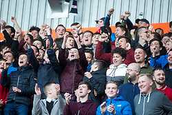First half south stand fans. Falkirk 3 v 2 Hibernian, Scottish Premiership play-off final, played 13/5/2016 at The Falkirk Stadium.