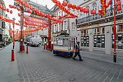 Westminster council services are seen going on about business as usual in China Town in London, Britain, as the country continues the lockdown to curb the spread of the coronavirus outbreak.  Monday, May 4, 2020.<br /> Robin Shattock of Imperial College said when the UK's lockdown is relaxed it's highly probable that we'll see another wave of Covid-19. (Photo/ Vudi Xhymshiti)