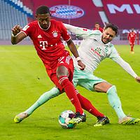 21.11.2020, Allianz Arena, Muenchen, GER,  FC Bayern Muenchen SV Werder Bremen <br /> <br /> <br />  im Bild David Alaba (FCB #27) im kampf mit Leonardo Bittencourt (SV Werder Bremen #10) <br /> <br /> <br /> <br /> Foto © nordphoto / Straubmeier / Pool/ <br /> <br /> DFL regulations prohibit any use of photographs as image sequences and / or quasi-video.