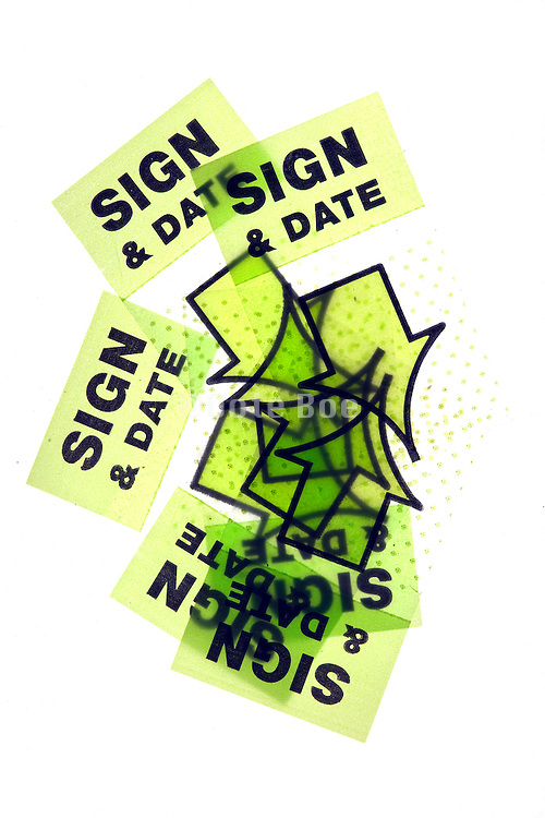 Sign and Date stickers used by tax accountants for to sign markings