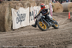 Roland Sands Hooligan Flat Track Racing in front of the main stage at the Buffalo Chip during the annual Sturgis Black Hills Motorcycle Rally. SD, USA. August 10, 2016. Photography ©2016 Michael Lichter.