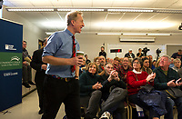 Tom Steyer greets the crowd at Lakes Region Community College for the Presidential Candidate Forum Thursday afternoon.  (Karen Bobotas/for the Laconia Daily Sun)