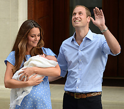 Duke and Duchess of Cambridge with their new baby boy<br /> Lindo Wing of St Mary's Hospital, London, United Kingdom<br /> Tuesday, 23rd July 2013<br /> Picture by Andrew Parsons / i-Images