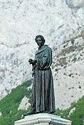 Statue of friar Andrija Kacic-Miosic, in town square Kacicev trg. Makarska, Croatia