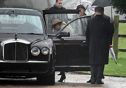 Countess of Wessex leaves after attending the morning church service at St Mary Magdalene Church in Sandringham, Norfolk.