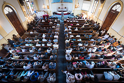 3 February 2019, Addis Ababa, Ethiopia: Congregation president Ato Teklu Wodajo shares a word of welcome, as more than 400 congregants, including a range of ecumenical guests, gather for worship at the Addis Ababa Evangelical Church Mekane Yesus, a congregation in the Ethiopian Evangelical Church Mekane Yesus. The congregation goes back to the very roots of the Lutheran presence in Ethiopia, and currently serves some 2,000 congregants, in a church of 9.3 million members spread across 9,000+ congregations around Ethiopia.