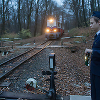 Boy gives a free signal to the arriving train at a switch at the Children's Railway in a forest in the Buda Hills in Budapest, Hungary on November 15, 2014. ATTILA VOLGYI