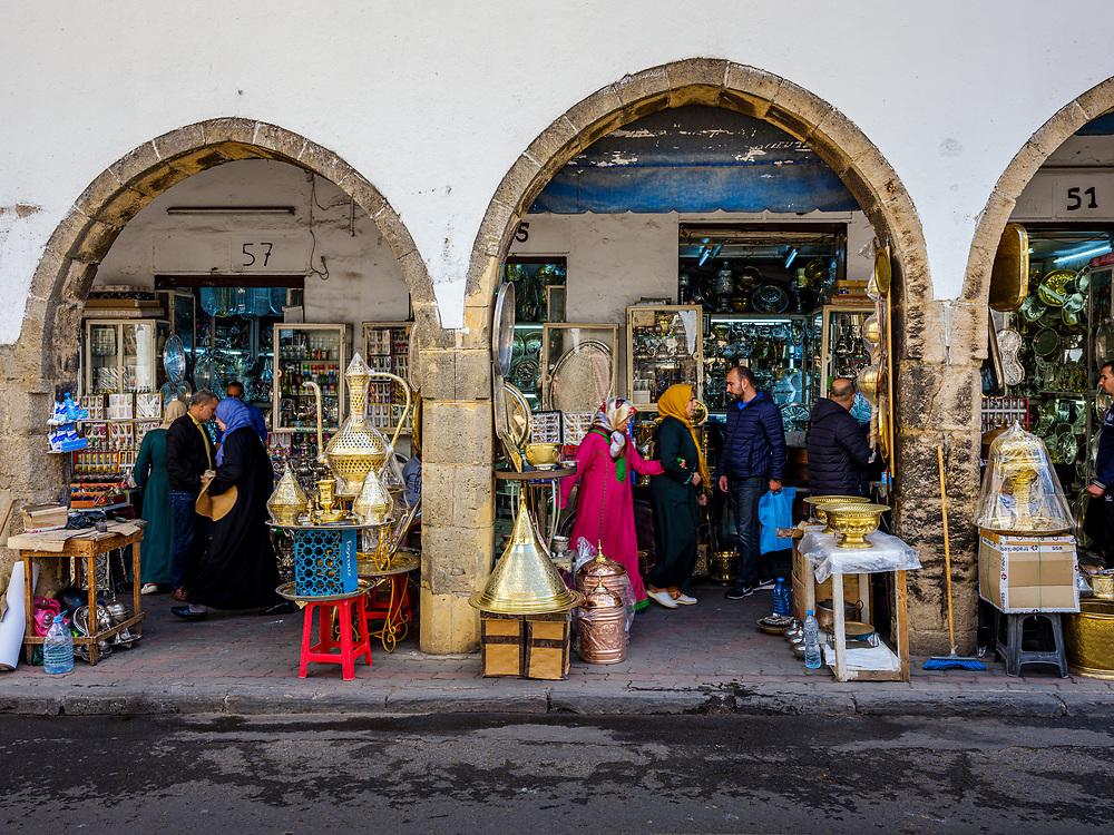 CASABLANCA, MOROCCO - CIRCA APRIL 2018: Street around the Bazar Habous Market in Casablanca.