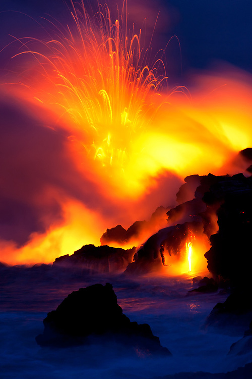 Vigorous activity at Waikupanaha is marked by spectacular explosions and subtle drips.