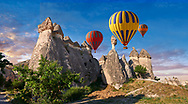 """Pictures & images of hot air balloons over the fairy chimney rock formations and rock pillars of """"Pasaba Valley"""" near Goreme, Cappadocia, Nevsehir, Turkey .<br /> <br /> If you prefer to buy from our ALAMY PHOTO LIBRARY  Collection visit : https://www.alamy.com/portfolio/paul-williams-funkystock/cappadocia-balloons.html<br /> <br /> Visit our TURKEY PHOTO COLLECTIONS for more photos to download or buy as wall art prints https://funkystock.photoshelter.com/gallery-collection/3f-Pictures-of-Turkey-Turkey-Photos-Images-Fotos/C0000U.hJWkZxAbg ."""
