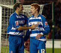 Photo: Daniel Hambury.<br />Reading v Brighton & Hove Albion. Coca Cola Championship. 10/12/2005.<br />Reading's Steve Sidwell (R) celebrates with Glen Litttle after scoring the third goal.