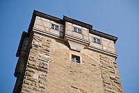 Historic stone watch tower, Rothenburg ob der Tauber, Franconia, Bavaria, Germany