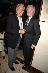 Left to right, actors SIR DONALD SINDEN and SIR DEREK JACOBI at a party to celebrate the publication of Pailine Hyde's book 'Midas Man' held at San Lorenzo, Beauchamp Place, London on 29th May 2008.<br /><br />NON EXCLUSIVE - WORLD RIGHTS