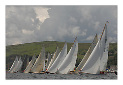 Sailing -Day 2 racing at the 8 metre World Championship 2007 held on the Clyde at The Royal Northern & Clyde YC as part of it's Centennial year..A calm start resulted in a sparkling sea breeze with cumulus clouds and blue skies with 10-12knots..All boats lined up for the Start with SUI 11 Aluette clear in the centre and G15 Anne Sophie..