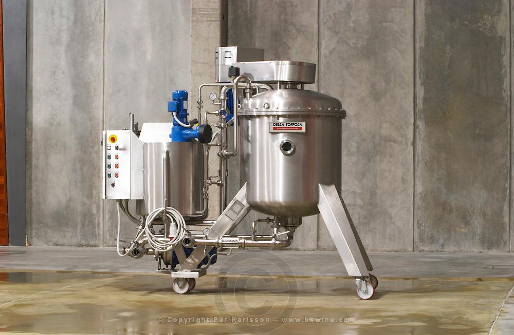 A filtering machine from Della Toffola, probably kieselguhr Bodega NQN Winery, Vinedos de la Patagonia, Neuquen, Patagonia, Argentina, South America