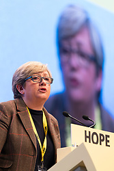 Edinburgh, Scotland, UK. 28 April, 2019. Day 2 of thee SNP ( Scottish National Party) Spring Conference takes place at the EICC ( Edinburgh International Conference Centre) in Edinburgh. Pictured;  Joanna Cherry MP making her address to delegates at the conference