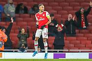 GOAL 1-0 Arsenal forward Pierre-Emerick Aubameyang (14) scores and celebrates during the Europa League match between Arsenal and Eintracht Frankfurt at the Emirates Stadium, London, England on 28 November 2019.