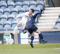 Raith Rovers Grant Anderson brought down by Falkirk's Mark Millar for a penalty.<br /> Half time : Raith Rovers 2 v 1 Falkirk, Scottish Championship game today at Starks Park.<br /> © Michael Schofield.
