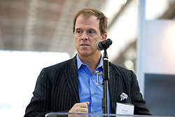 Bill Haney, Co-founder and President of Blu Homes  addresses the crowd as they  open their West Coast factory on Mare Island in Vallejo, California Dec. 1, 2011.  Over 400 guests attended a ribbon cutting ceremony at the 250,000-square-foot facility.