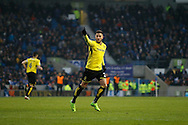 Burton Albion midfielder Michael Kightly (28) celebrates after scoring a goal to make the score 3-1 during the EFL Sky Bet Championship match between Brighton and Hove Albion and Burton Albion at the American Express Community Stadium, Brighton and Hove, England on 11 February 2017. Photo by Richard Holmes.