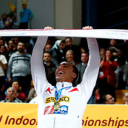 US athlete Ashton Eaton celebrates his gold medal after winning the men's heptathlon following victory in the final 800m event during the IAAF World Indoor Championships at the Atakoy Athletics Arena, Istanbul, Turkey. Photo by TURKPIX