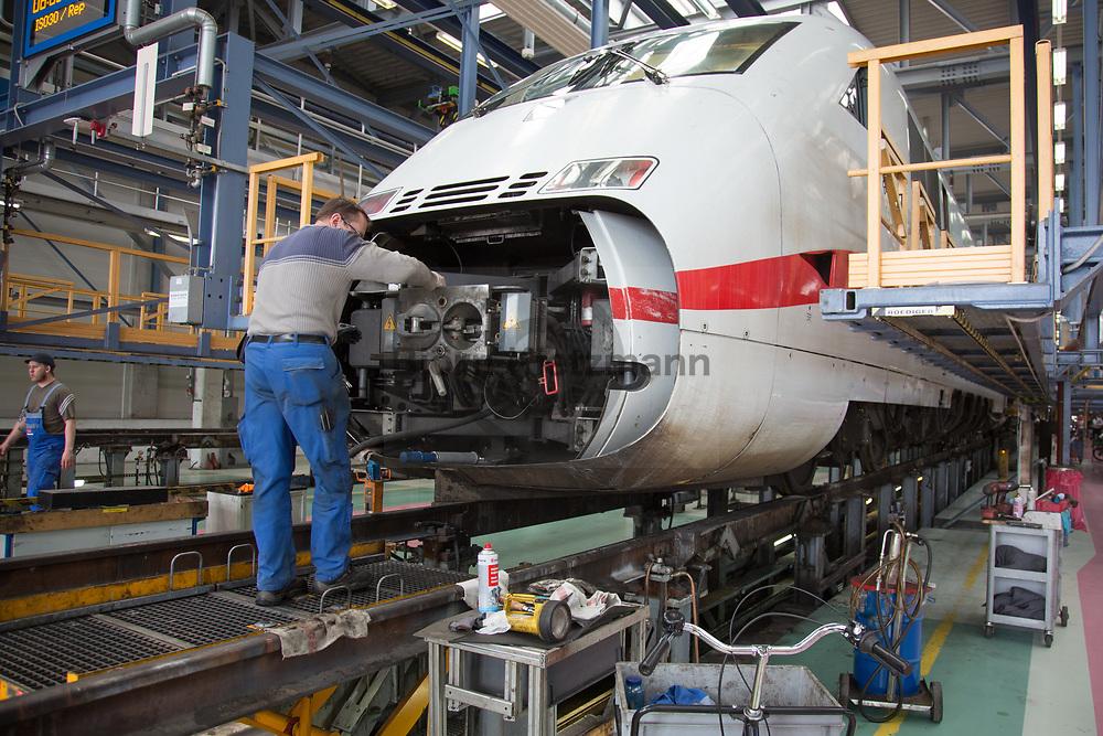 Berlin, Germany - 10.04.2018<br /> <br /> Deutsche Bahn ICE railway plant in Berlin-Rummelsburg. <br /> <br /> ICE Werk der Deutschen Bahn in Berlin-Rummelsburg. <br /> <br /> Photo: Bjoern Kietzmann