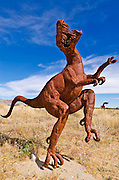 Metal raptor sculptures by Ricardo Breceda at Galleta Meadows Estate, Borrego Springs, California USA