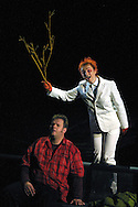 Scottish Opera's production of Richard Wagner's 'Siegfried', the third part of the 'Ring Cycle' which is being staged in successive years on the Edinburgh International Festival. Picture shows The Woodbird (Gillian Keith) singing Siegfried (Graham Sanders, left) a warning about the treachery of the Nibelung, Mime, in a scene from Act II.........