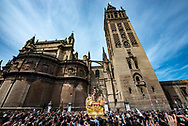 The Resurrected image of Christ is celebrated by the crowd outside Seville Cathedral on Easter Day. Holy Week is over, the city, Andalusia and the whole of Spain are going back to normal after a week of solemn celebrations.